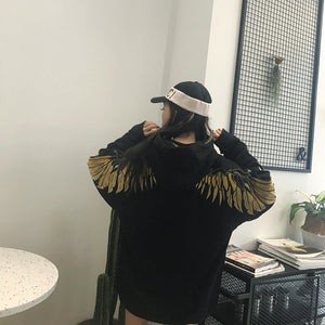 gold thread embroidery wings Hoodie
