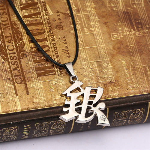 GINTAMA Necklace Sakata Gintoki Silver Metal  Rope Chain Necklaces
