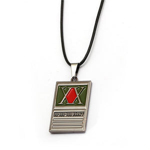 HUNTER x HUNTER Necklace Rich Men Square Metal Pendant Necklace Rope Chain