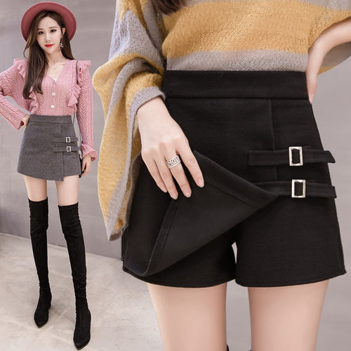 Harajuku Gray Black Woolen Elegant Micro Mini Skirts