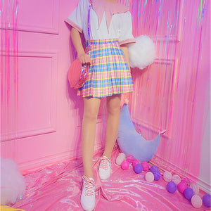 Harajuku Plaid Pleated Skirt High Waist Casual Rainbow A-Line Skirt