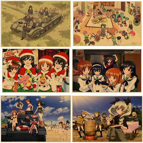 Japanese Anime GIRLS und PANZER Wall Anime Poster Home Decor Retro kraft paper poster  30*21cm