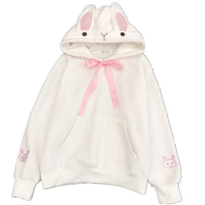 Kawaii Sweet Rabbit Ears Hooded Sweatshirt Harajuku Style