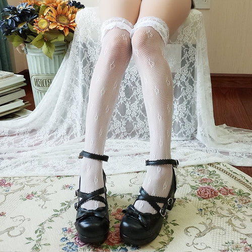 Lolita Style Sweet Lace Thigh High Stockings Sexy Over The Knee Fishnet Style