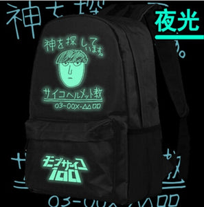 New Anime Mob Psycho 100 Backpack Luminous