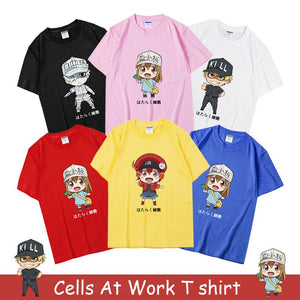 Cells At Work T shirt Blood Platelet Red Blood Cell Killer T Cell White Blood - Kawainess