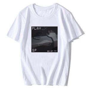 Sad Retro Anime Crying Eyes Vaporwave T-shirt