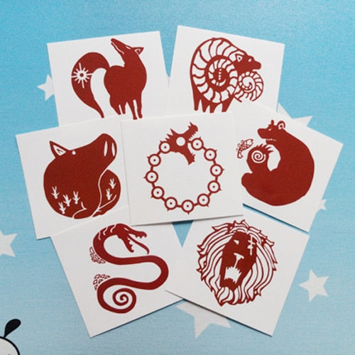 The Seven Deadly Sins  Dragon's Sin of Wrath Tattoo Sticker 7pcs/set