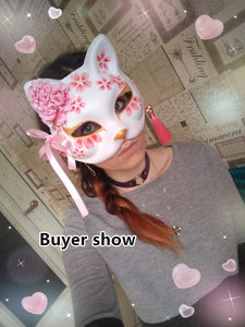 New Japanese Fox Mask Hand-painted Cat Natsume's Book of Friends Pulp Fox Half Face Mask