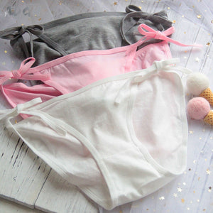 Sexy Side Tie Close Panties Cute Rabbit Tail Lingerie Underwear