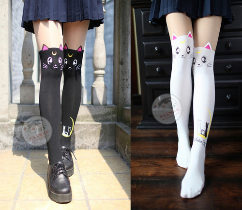 Sailor Moon Luna Cat Pattern Tights Socks Stockings - Kawainess
