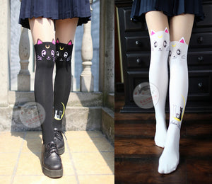 Sailor Moon Luna Cat Pattern Tights Socks Stockings