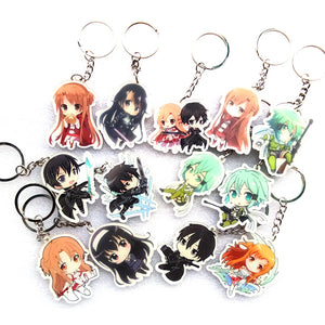 Sword Art Online Keychains Single Printed & Double Printed 13 Piece Set