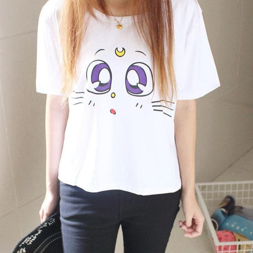 Kawaii Sailor Moon LUNA Cat T-Shirt