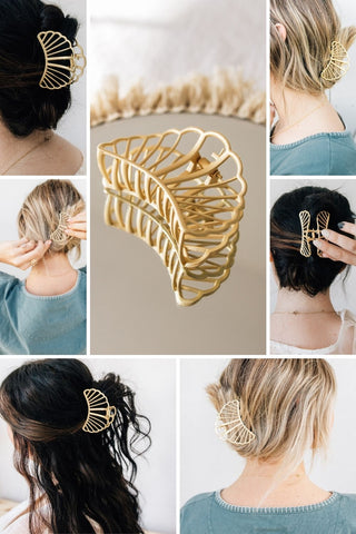 How to Style Gold Hair Claw - with Sanibel Gold Shell Hair Claw by Whim Collection