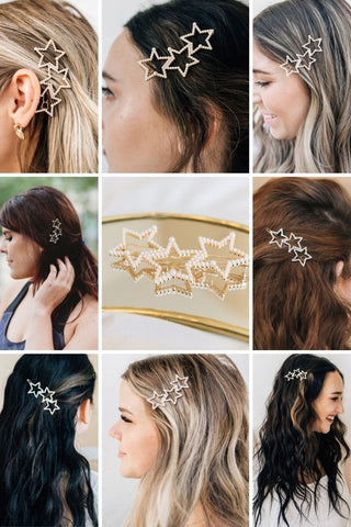 How to Style Hair Clip with Broadway Gold and Pearl three star hair clip