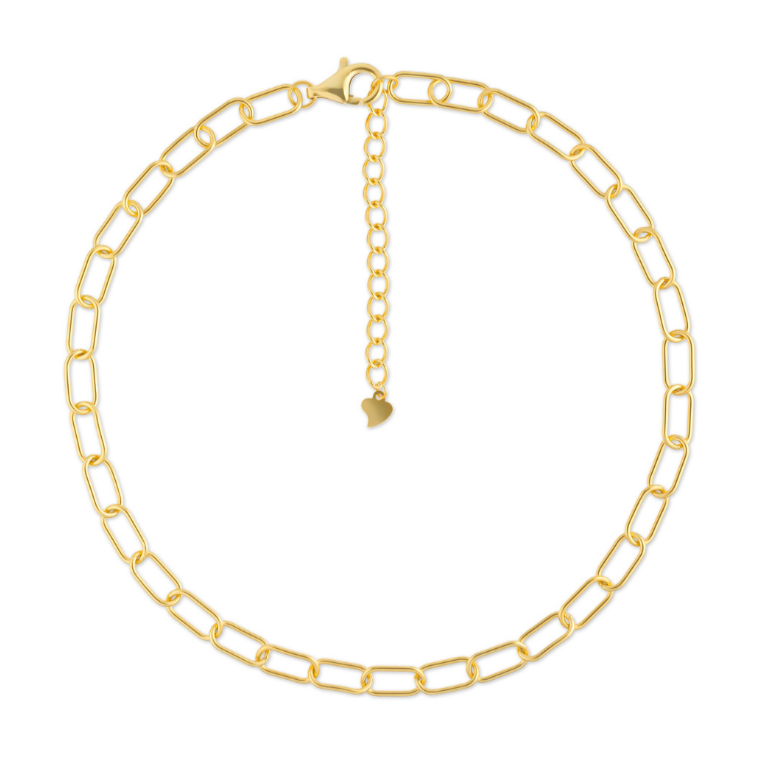 The paper clip necklace trend is brought to life with our 14k Gold Chain Choker. Necklace is shown laid in flat circle on white background.