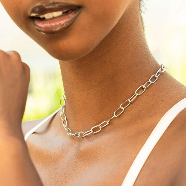 Bronson Silver Small Chain Link Choker Necklace 1