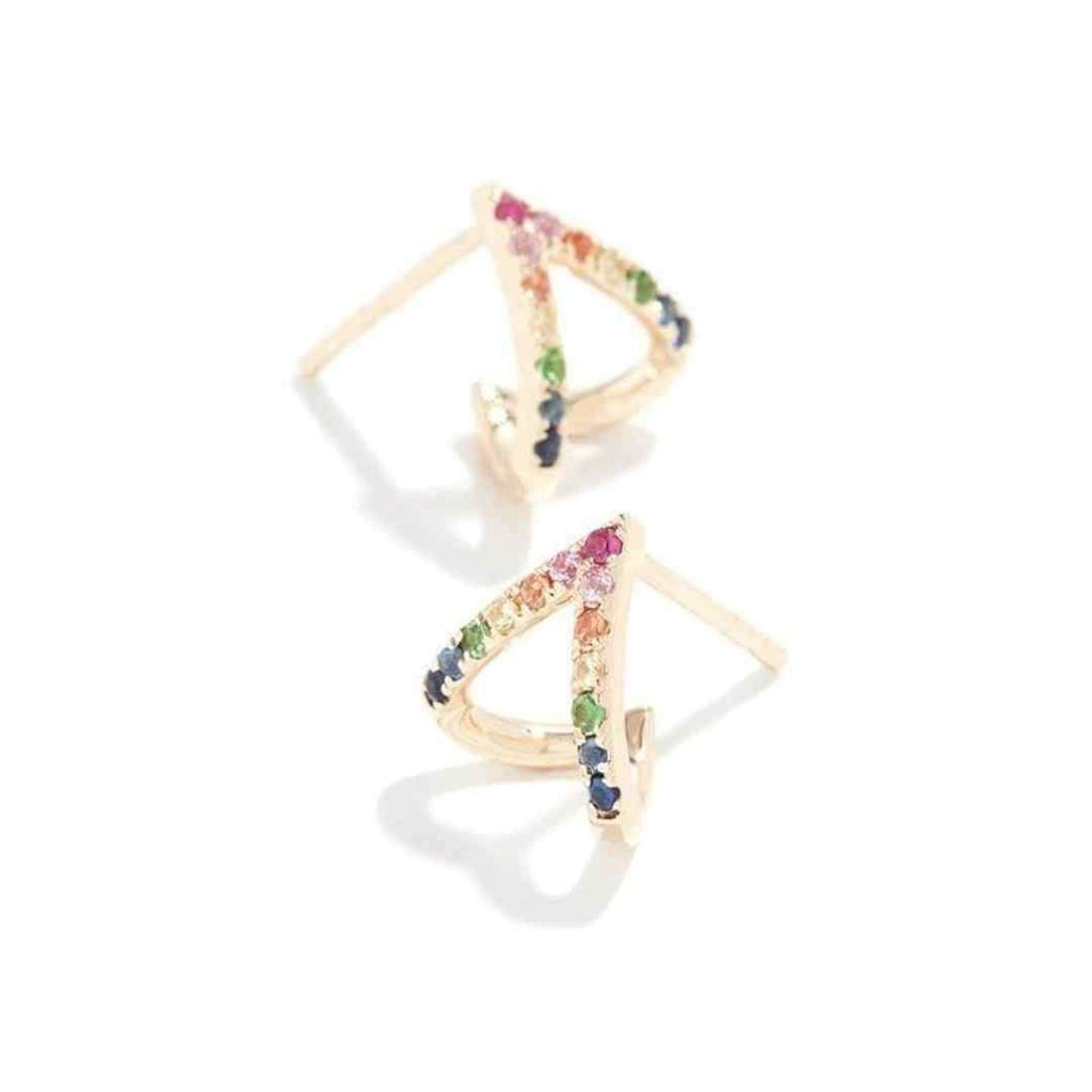 Whim Collections Bermuda Rainbow Chevron Ear Huggies featured on a white background. This unique earring features red, pink, orange, yellow, green, blue and indigo rhinestones in a chevron or open triangle pattern. The earrings are made to wrap or hug the earlobe and curl up the backside of your ear.
