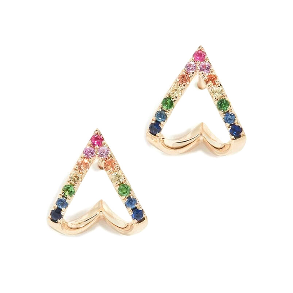 Whim Collections Bermuda Rainbow Chevron Ear Huggies featured on a white background. This unique earring features red, pink, orange, yellow, green, blue and indigo rhinestones in a chevron or open triangle pattern. The earrings are made to wrap or hug the earlobe and curl up the backside of your ear