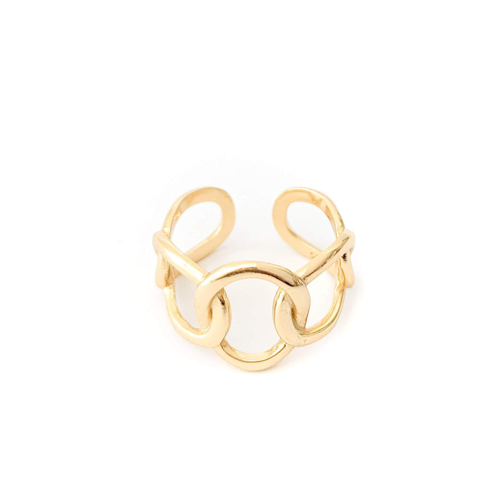 Whim Collections Chelsea chunky chain ring, featuring multi-size chain design. The ring is shot on a white background expose slightly adjustable open back.