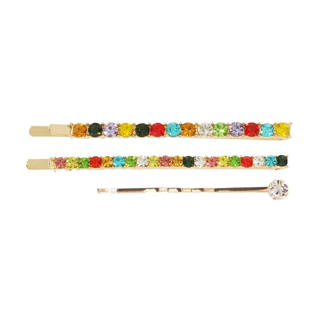 Set of 3 Bobby Pins Shot on White Background. Set includes two rainbow colored rhinestone bobby pins and one gold bobby pin with a single crystal at the end.
