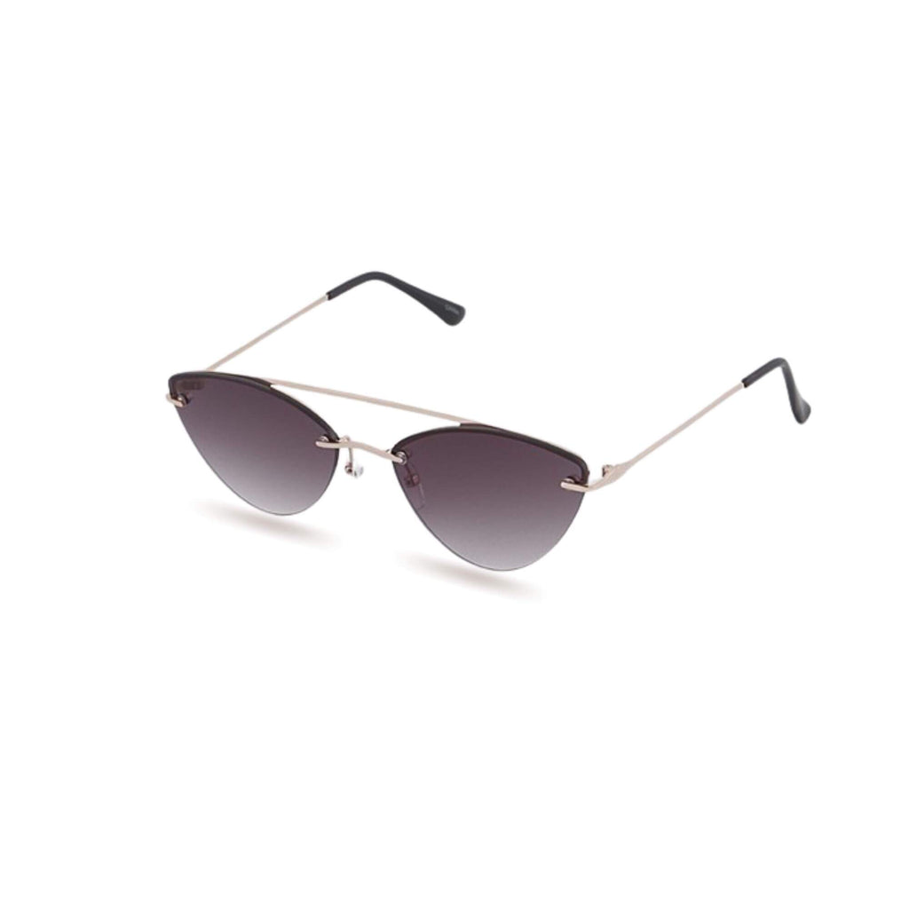 Small frame cateye sunglasses in black/gold on white background