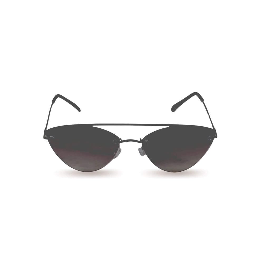 Cateye aviator sunglasses in black with black frame on white background