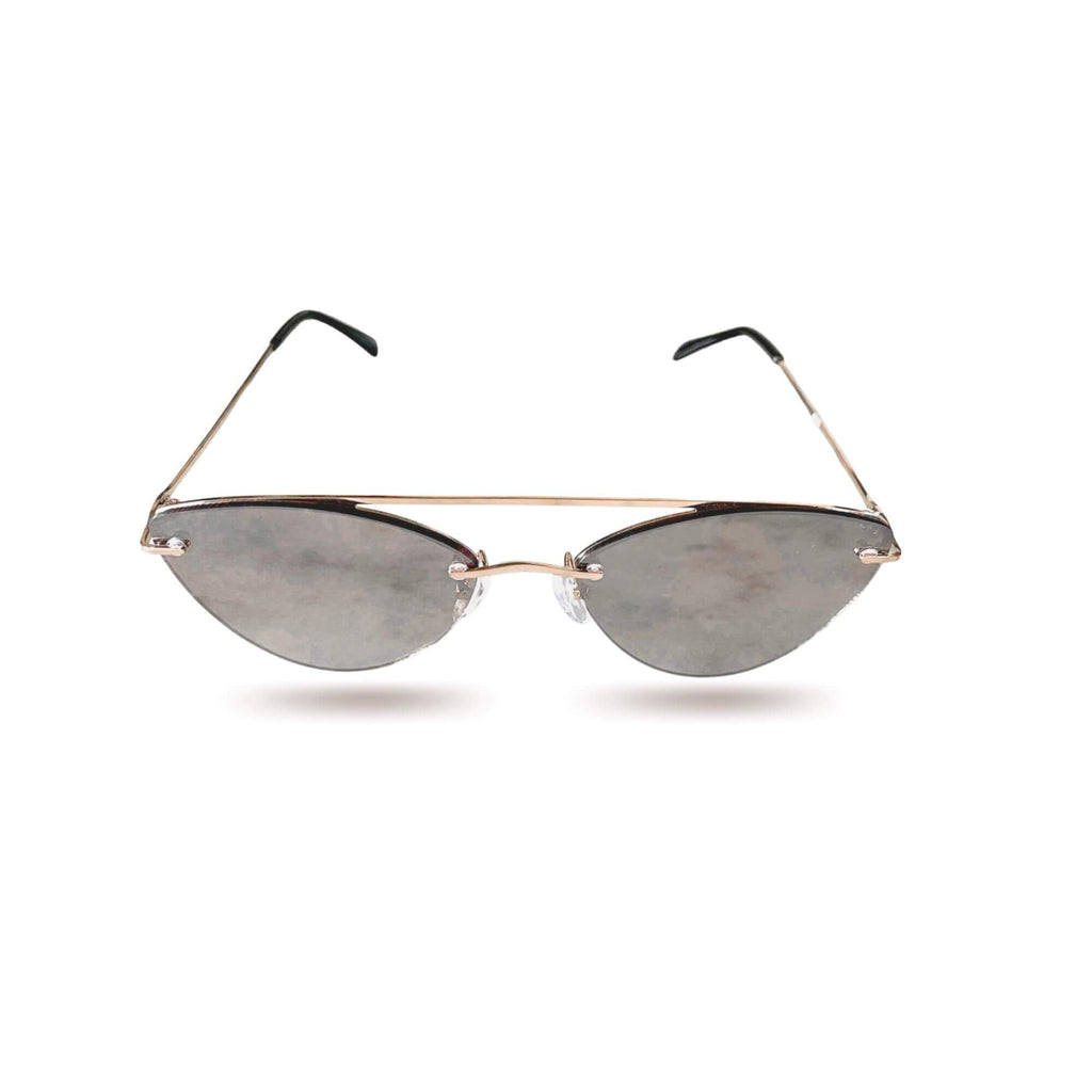Retro vintage style cateye sunglasses with gold frame shot on white background