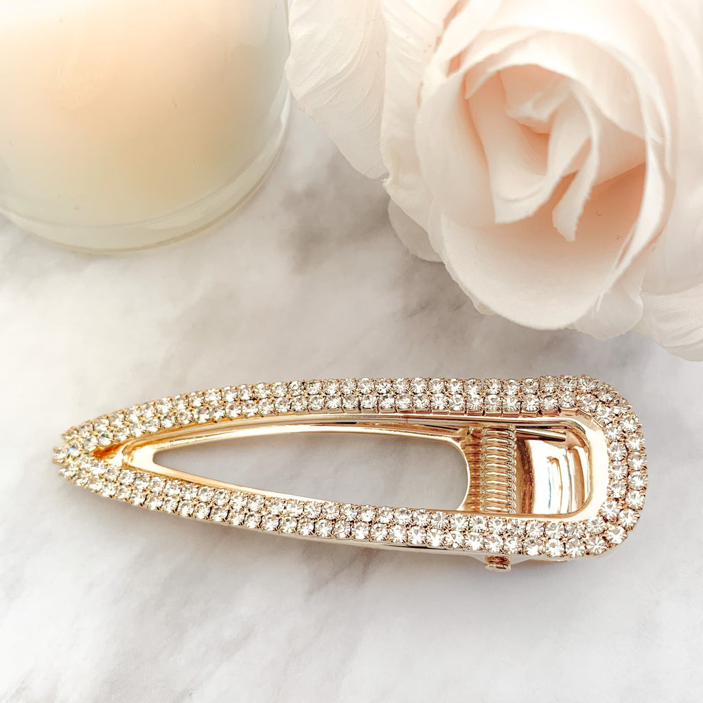 Crystal Alligator Clip Gold