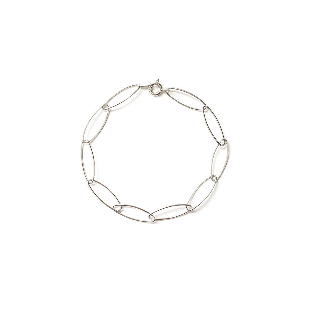 Milan Silver Oval Chain link bracelet shot on a white background. This bracelet contains ten 2cm wide oval chain links and a 5mm round spring closure