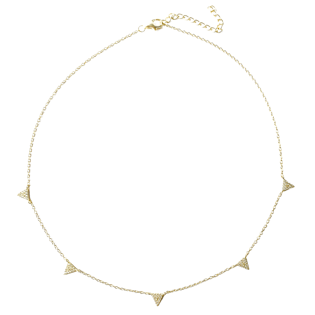 Whim Collection Victoria Triangle Charm Choker, featuring five 18k gold triangle charms with thirty tiny zircons triangle shape. 925 Sterling Silver plated with 18k Gold