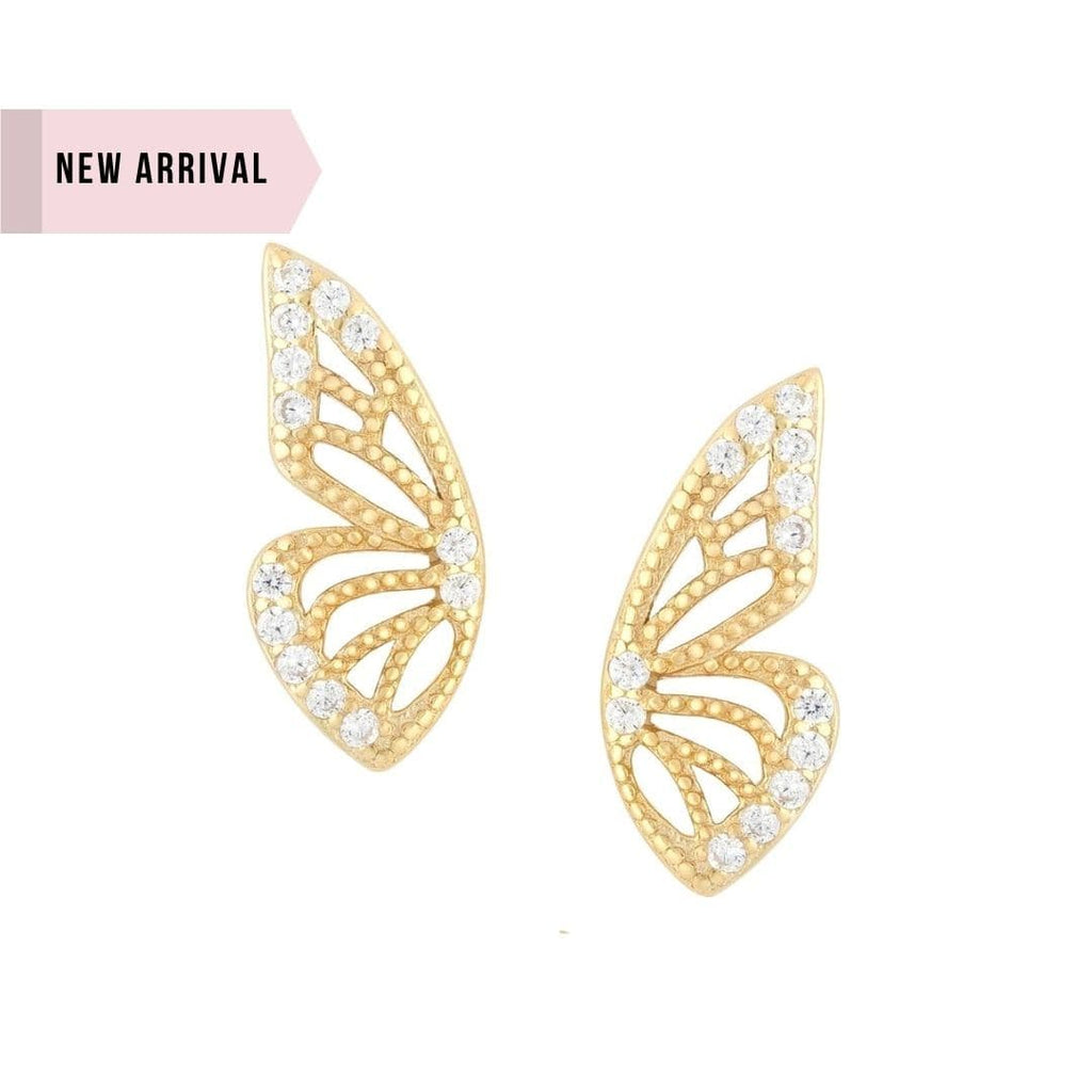 Whim Collection Cameron Gold Butterfly earrings shot on white background. Each earring features a gold butterfly wing. The edges contain tiny zirconss.