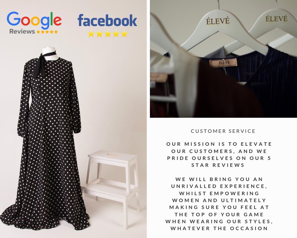 eleve image showing some dresses and the commitment to customer service