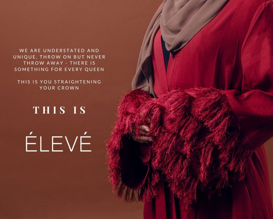 this is eleve our story image red abaya feathered