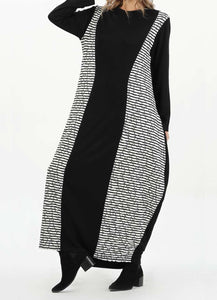 MODGREY BLACK AND WHITE COMBED COTTON DRESS