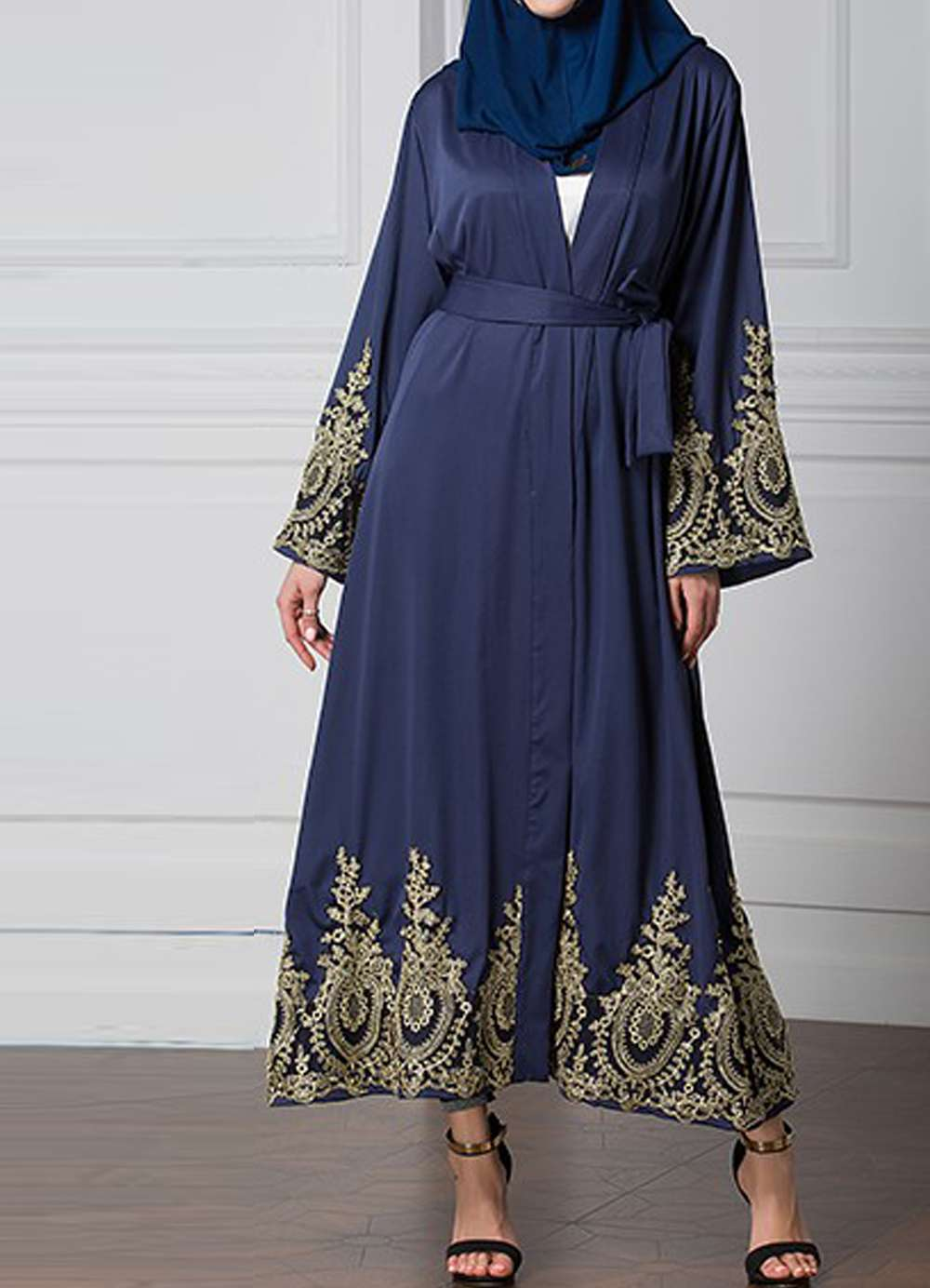 Navy Blue Mazal  Embroidered Sleeve Open Abaya