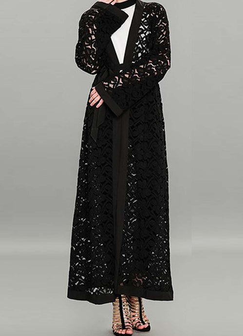Black Evonne Net Design Open Abaya
