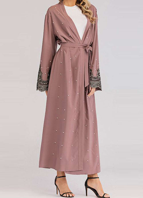 Esana Floral Embroidery Open Abaya