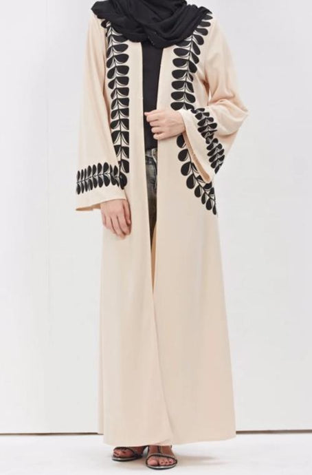 Cream Amalia Black Floral Pattern Open Abaya