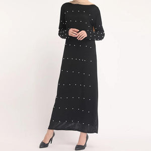 Black Melanie Knitted with Pearl Detail Abaya