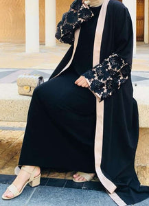 Black Ambra Embroidered Sleeves Abaya