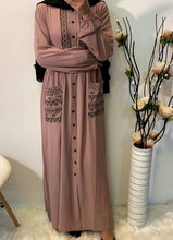 Load image into Gallery viewer, Cherie Geometric Embroidered Abaya
