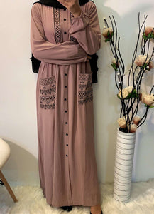 Cherie Geometric Embroidered Abaya