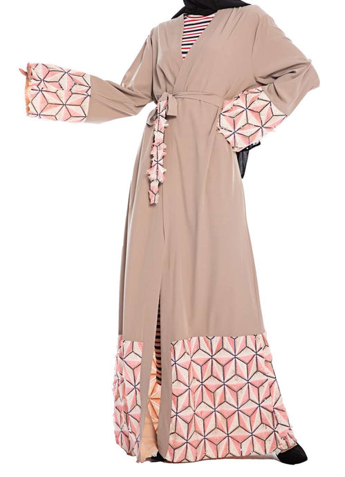 Asnat Geometric Design Sequin Abaya