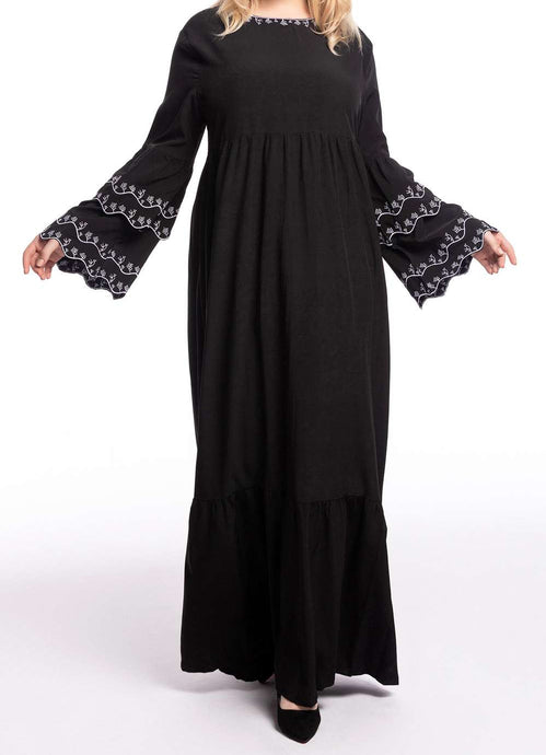 Black Ella Embroidered Long Dress