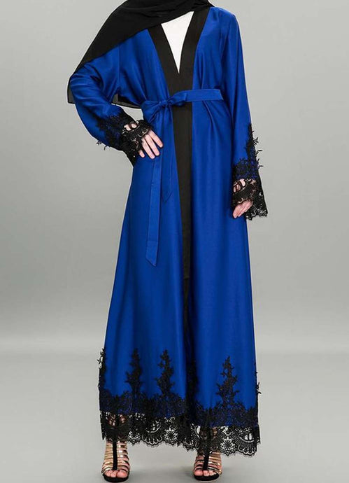 Armel Lace Embroidered Open Abaya