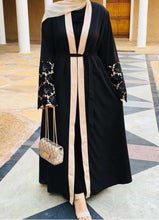 Load image into Gallery viewer, Black Ambra Embroidered Sleeves Abaya