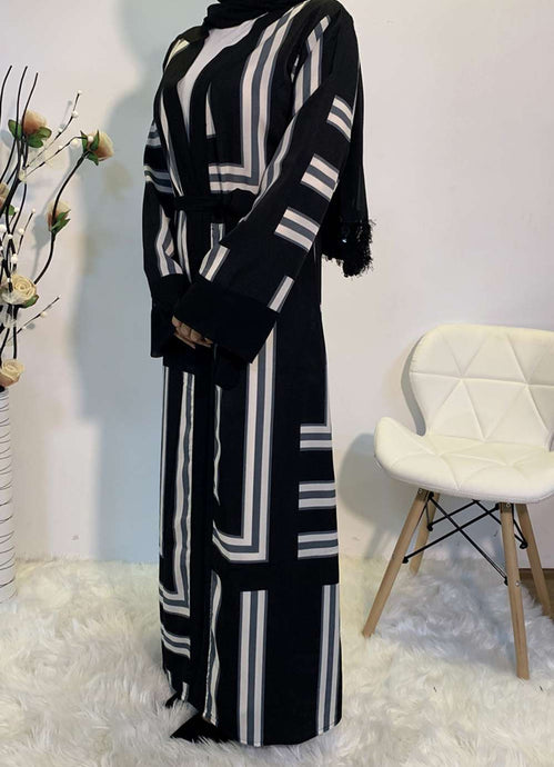 Black Halyat Printed Open Abaya
