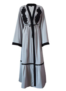 Grey Tamar Black Embroidered Open Abaya